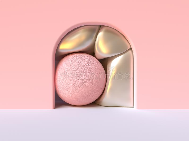 Pink wall white floor abstract curve door  group of pink metallic ball in side 3d rendering stock illustration