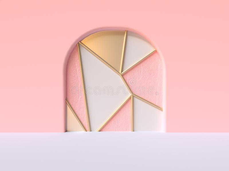 Pink wall white floor abstract curve door   triangle pattern pink metallic close 3d rendering. Pink wall white floor abstract curve door triangle pattern pink royalty free illustration