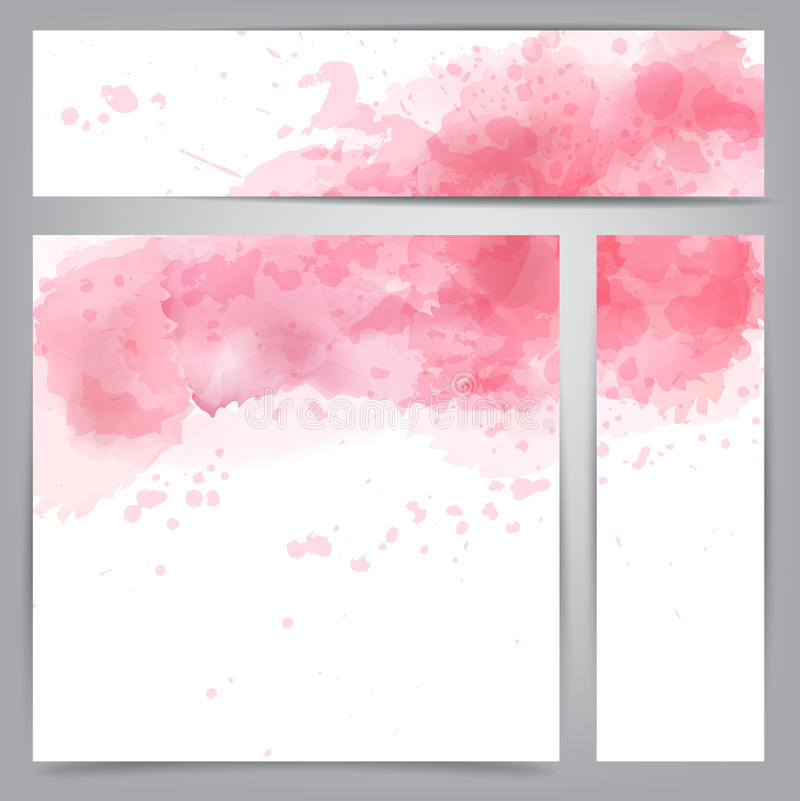 Pink watercolor abstract banners. Vector Illustration of set of three watercolor banners. Eps10 vector illustration