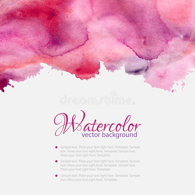 Pink watercolor blots pattern top frame vector illustration