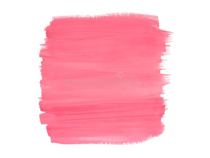 Pink watercolor brush strokes on white background. Abstract pink hand painted watercolor brush strokes on white background royalty free stock image