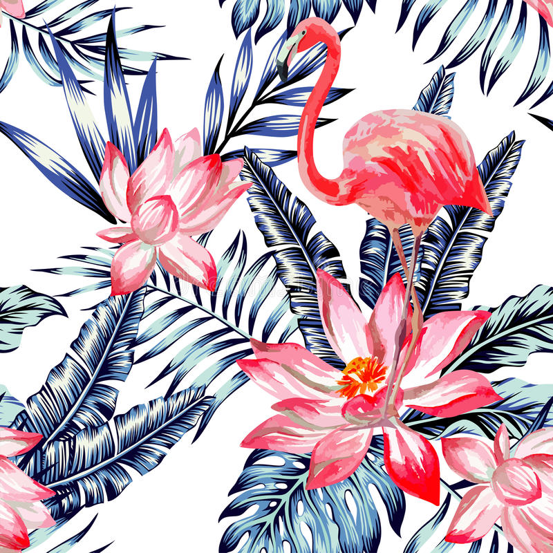 Pink watercolor flamingo and blue palm leaves tropical seamless royalty free illustration