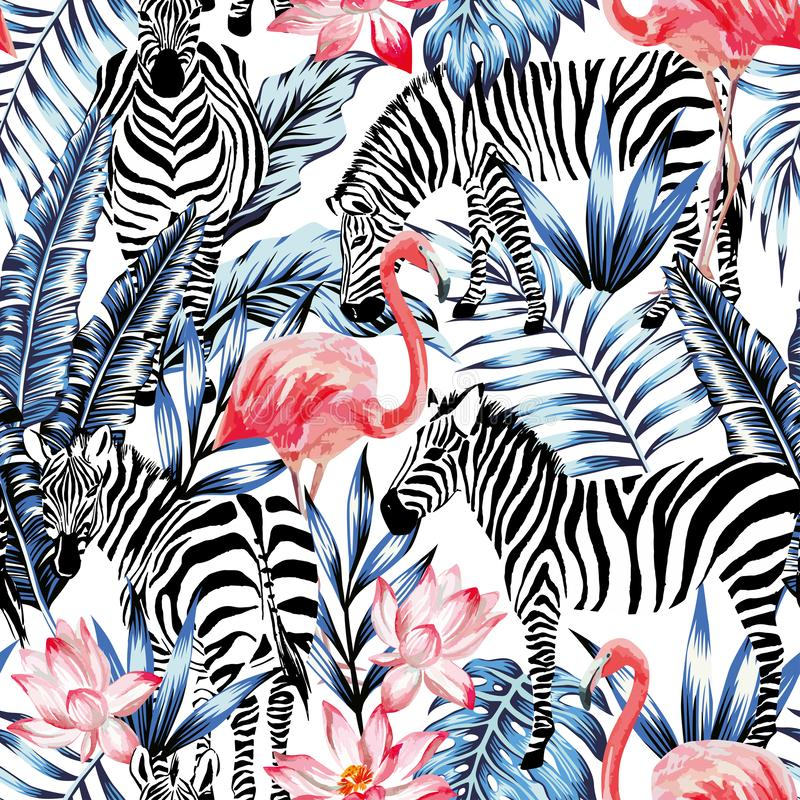 Pink watercolor flamingo, zebra and blue palm leaves tropical seamless background vector illustration