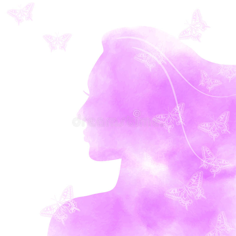 Pink watercolor girl face with butterflies royalty free illustration