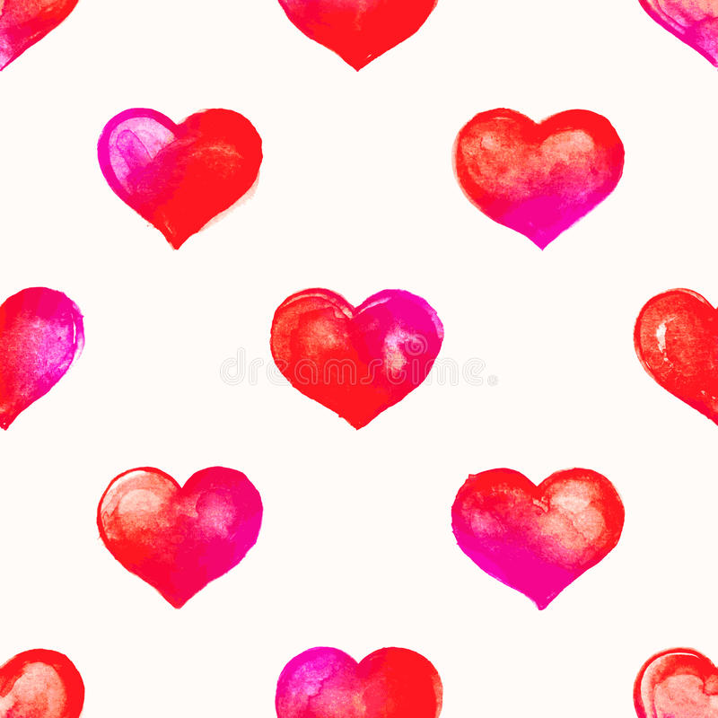 Pink watercolor hearts. Seamless background with cute pink watercolor hearts vector illustration