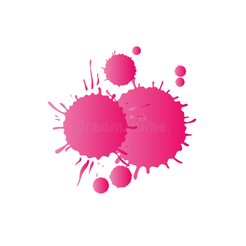 Pink watercolor paint drops royalty free stock photo