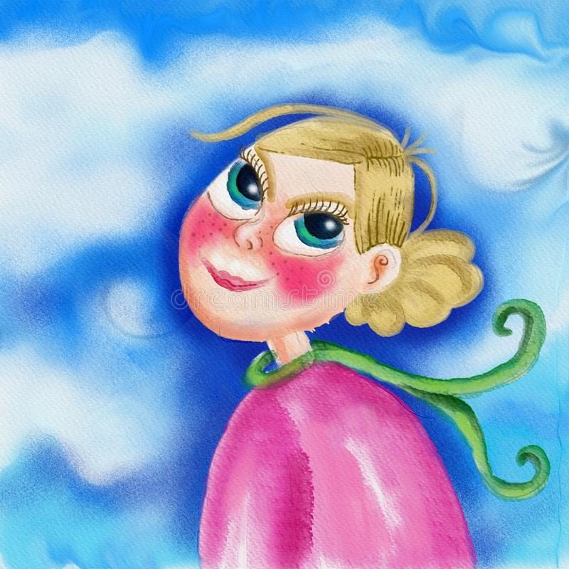 Pink, Watercolor Paint, Fictional Character, Flower royalty free stock images