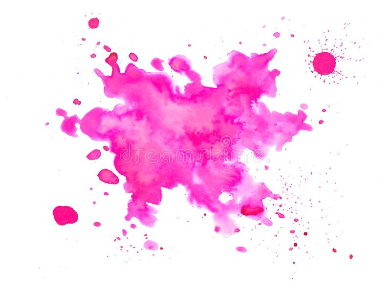 Pink watercolor splash - hand drawn, with droplets. Pink hand-drawn watercolor splash stain on white paper. Art background or texture, useful for various vector illustration