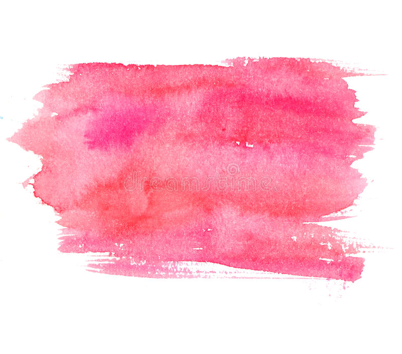 Pink watercolor stain isolated on white background. Artistic paint texture stock photo