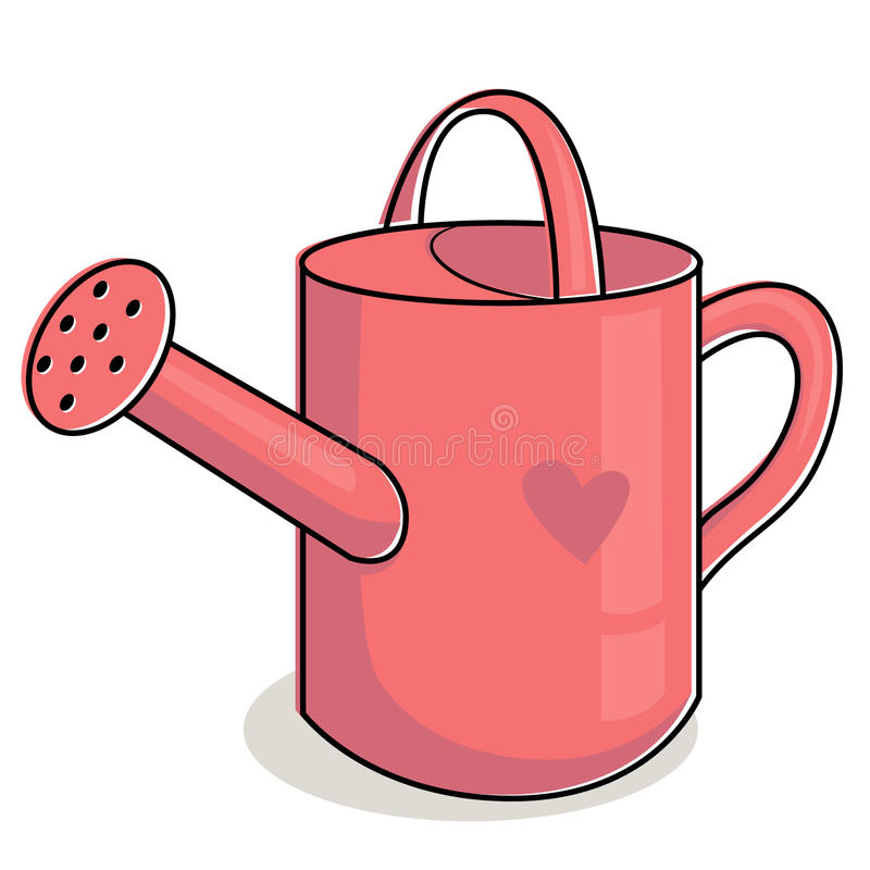 Pink watering can royalty free illustration