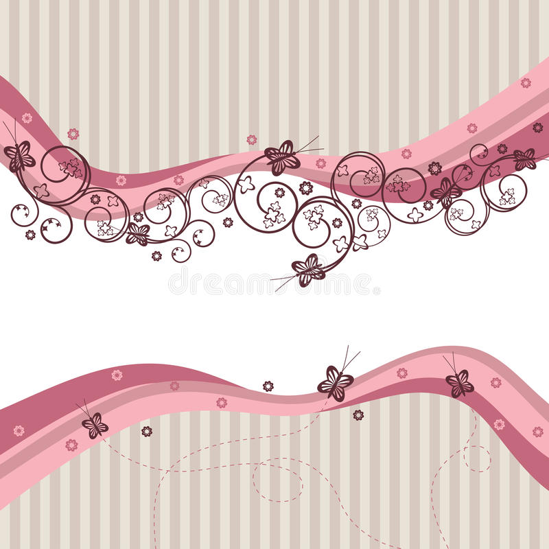 Pink waves, swirls and butterflies vector illustration