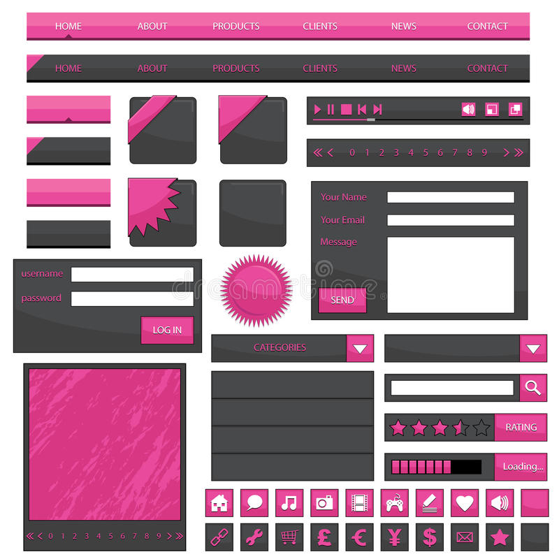 Pink web objects vector illustration
