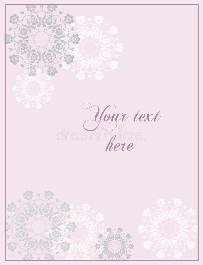 Pink Wedding or Anniversary greeting card in baroque style. stock images