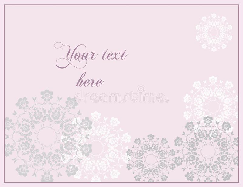 Pink Wedding or Anniversary greeting card in baroque style. royalty free stock photo