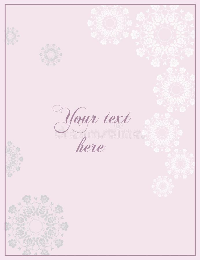 Pink Wedding or Anniversay greeting card in baroque style. stock photo