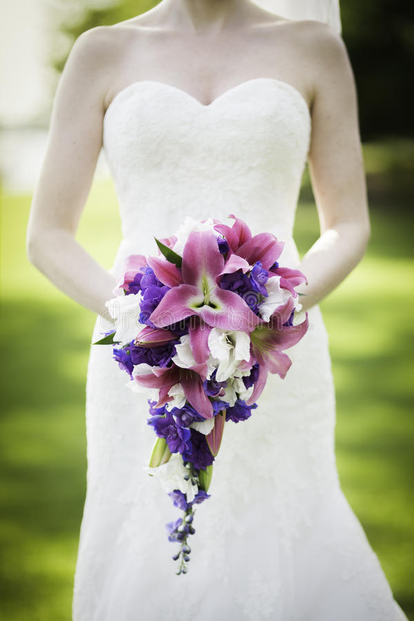 Pink wedding bouquet stock images