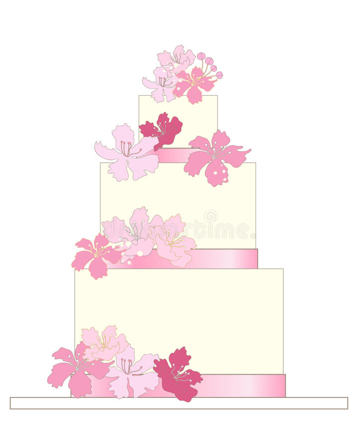 Pink wedding cake vector illustration