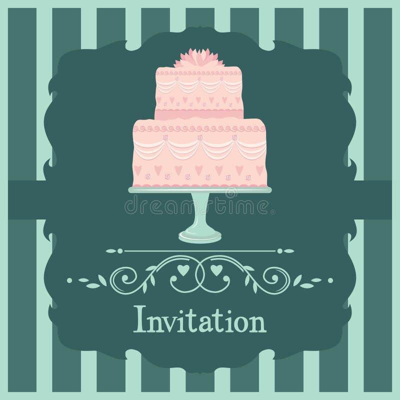 Pink wedding cake royalty free illustration