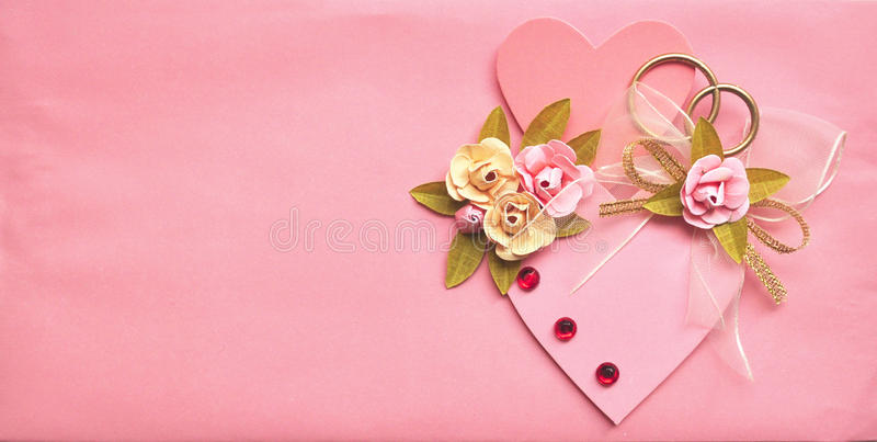 Pink Wedding Card Background With Heart Royalty Free Stock Photo