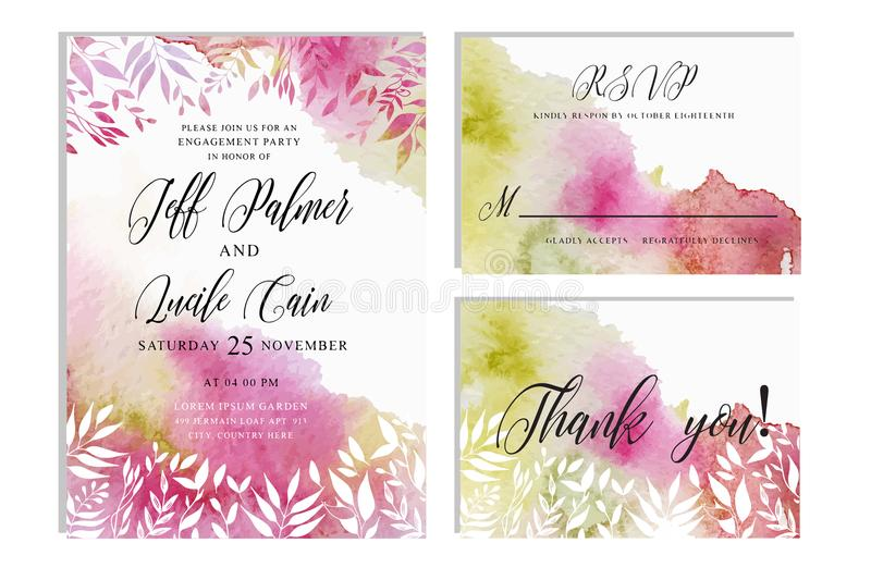 Pink wedding set with hand drawn floral watercolor background. Includes Invintation, rsvp and thank you cards templates. stock illustration
