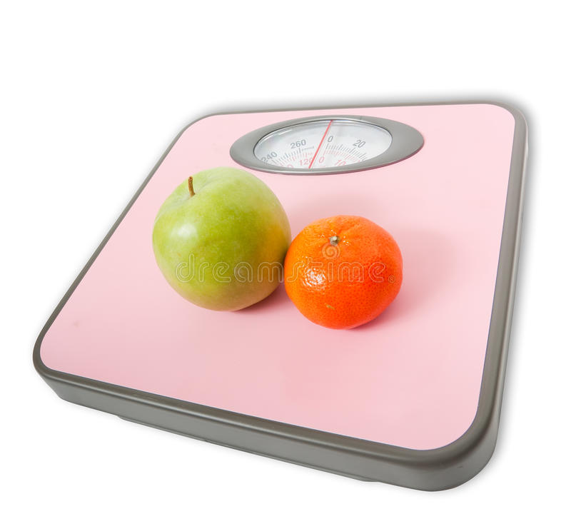 Download Pink Weighing Scales And Fruits Stock Photo - Image: 14514634