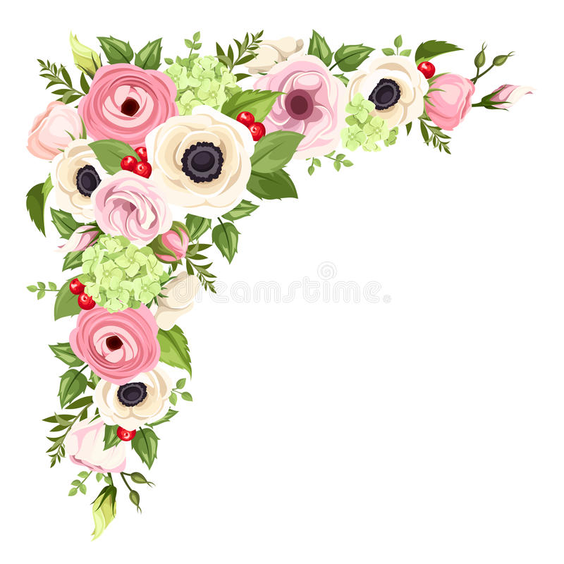 Pink and white anemones, lisianthuses, ranunculus and hydrangea flowers and green leaves. Vector corner background. royalty free illustration