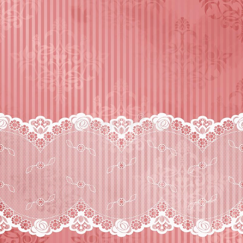 Pink and white background with lace