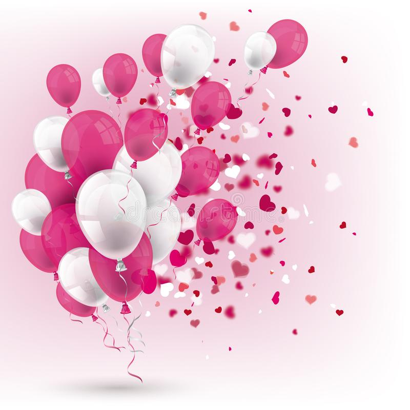 Pink White Balloons Confetti White Cover Hearts royalty free illustration