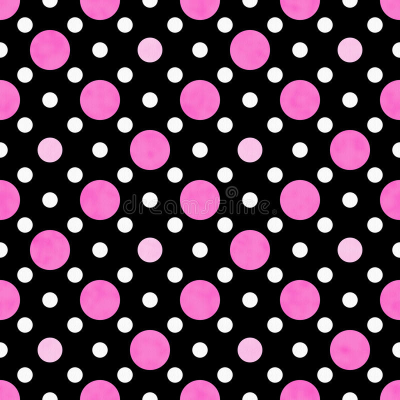 pink white and black polka dot fabric background stock