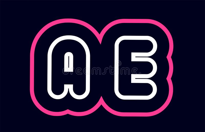 Pink white blue alphabet combination letter ae a e logo company. Pink white blue alphabet combination letter ae a e logo design suitable for a company or stock illustration