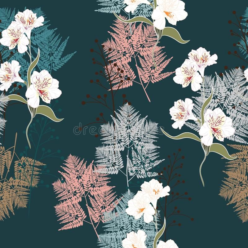 Pink and white bouquets on the black background. Vector seamless pattern with garden flowers. stock illustration