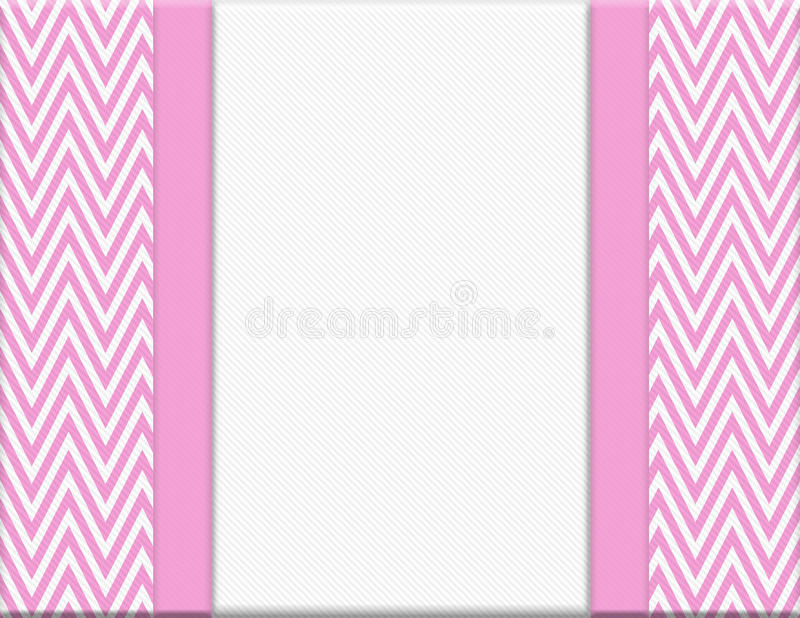 Pink and White Chevron Zigzag Frame with Ribbon Background. With center for copy-space, Classic Chevron Zigzag Frame stock image