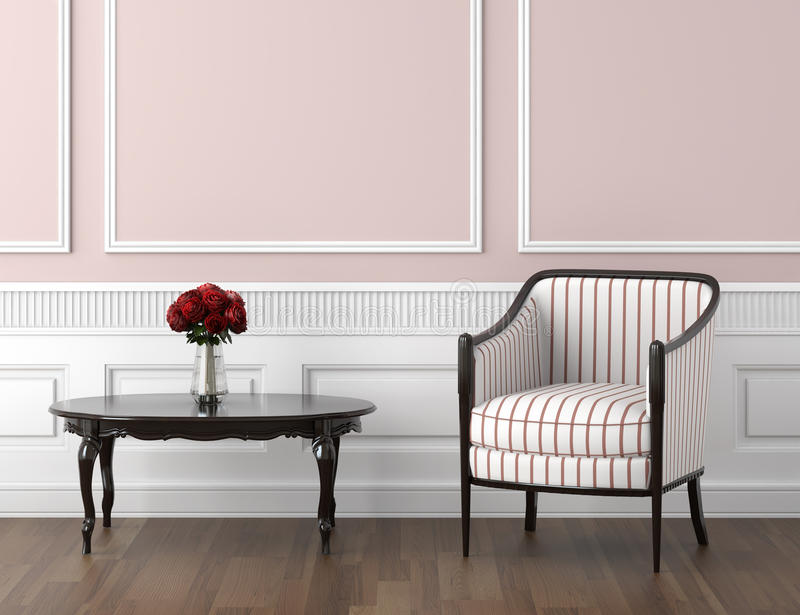 Pink And White Classic Interior Royalty Free Stock Photography
