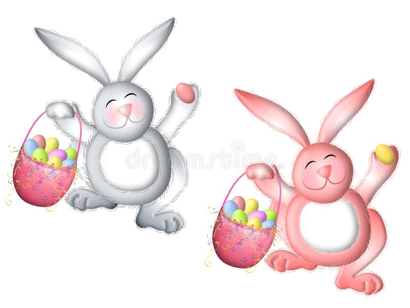 Pink and White Easter Bunny With Basket. A clip art illustration featuring your choice of two Easter bunny rabbits - in white and pink carrying a basket of eggs