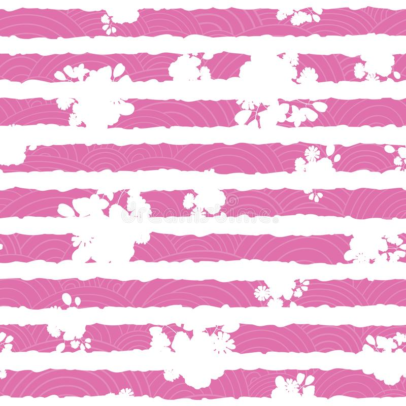 Pink and white floral textured stripes pattern. Pink and white floral textured stripes seamless pattern print. Great for any design project and feminine products royalty free illustration