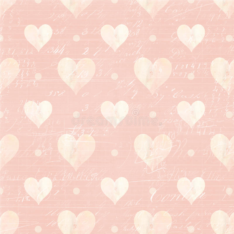 Pink and White hearts and Script Background. Pink and White love hearts and Script Background perfect for wedding or valentines day royalty free illustration