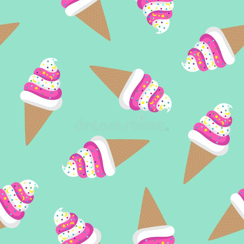 Pink and white ice cream cone twisted on a turquoise background sprinkled with colorful candy moon star waffle pattern seamless vector illustration