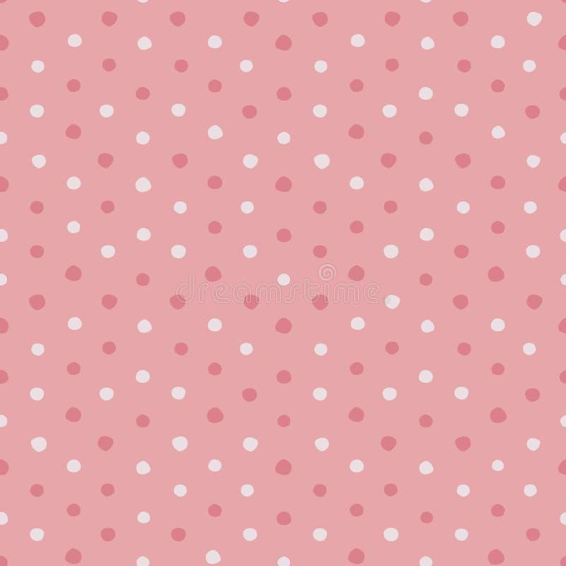 Pink and white irregular polka dots vector seamless pattern. vector illustration