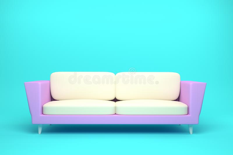 Pink and White Leather sofa design in light blue background. 3D rendering illustration royalty free illustration