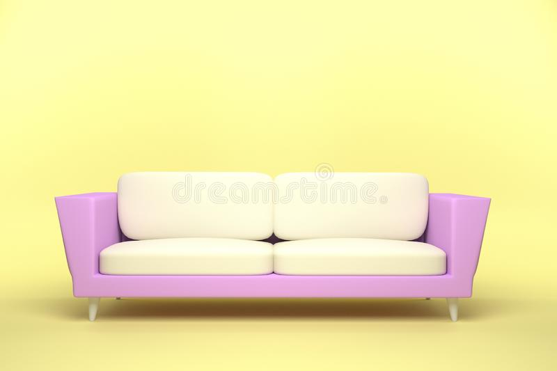 Pink and White Leather sofa design in yellow background. 3D rendering illustration vector illustration