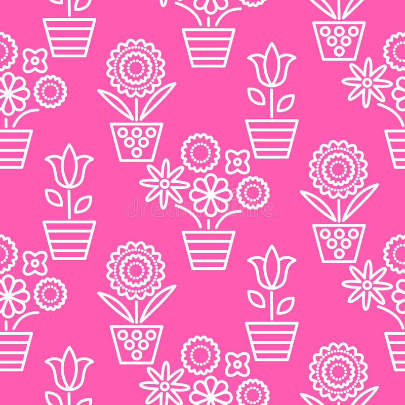 Pink and white line flower pots seamless vector. Floral outline feminine monochrome background texture stock illustration