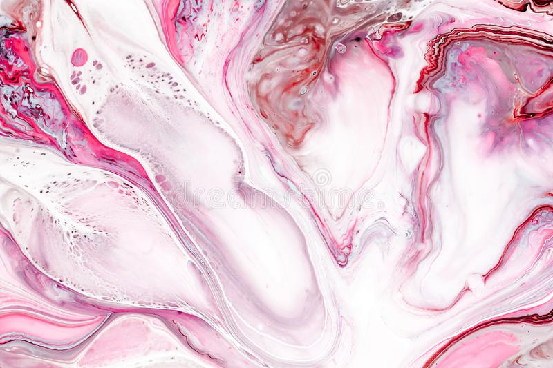 Pink and white marbles textures with acrylic painted waves. Abstract painting, can be used as a trendy background for vector illustration