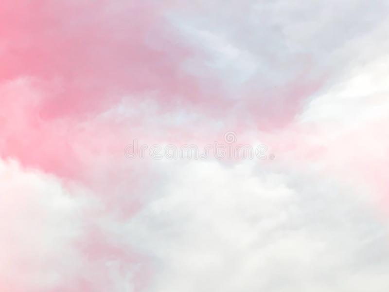 Pink pastel sky and clouds background royalty free stock image