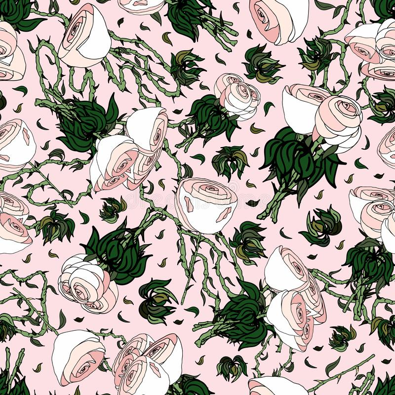 Pink White and Roses. Hand drawn seamless repeating pattern of various rotating white rose bouquets, leaves and vines, over a soft pink background - Vector vector illustration