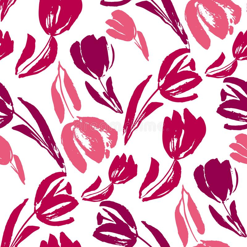 Pink and white sketch tulip seamless pattern. For background, fabric, wrapping paper. stock template design. nature flat spring flower motif in rosy red and vector illustration