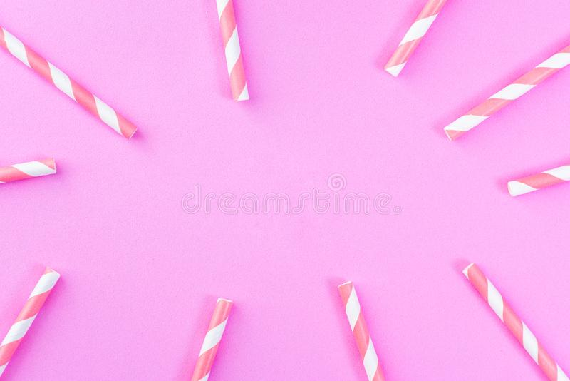 Pink white straw, top view royalty free stock photography