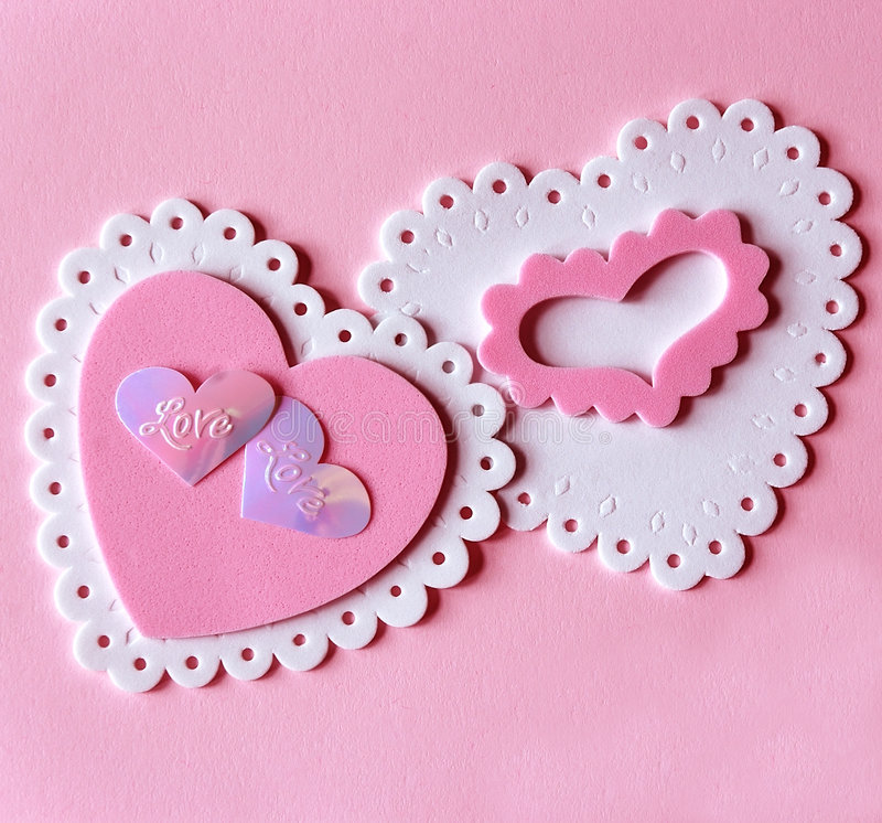 Pink and White Valentine Hearts stock images