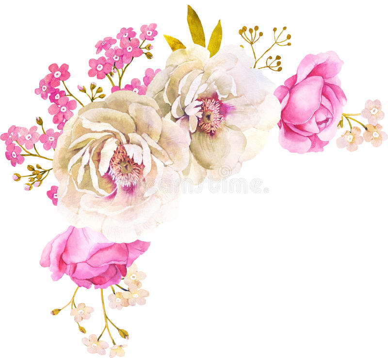 Pink White Watercolor Flower Bouquet For Wedding Stock Illustration ...
