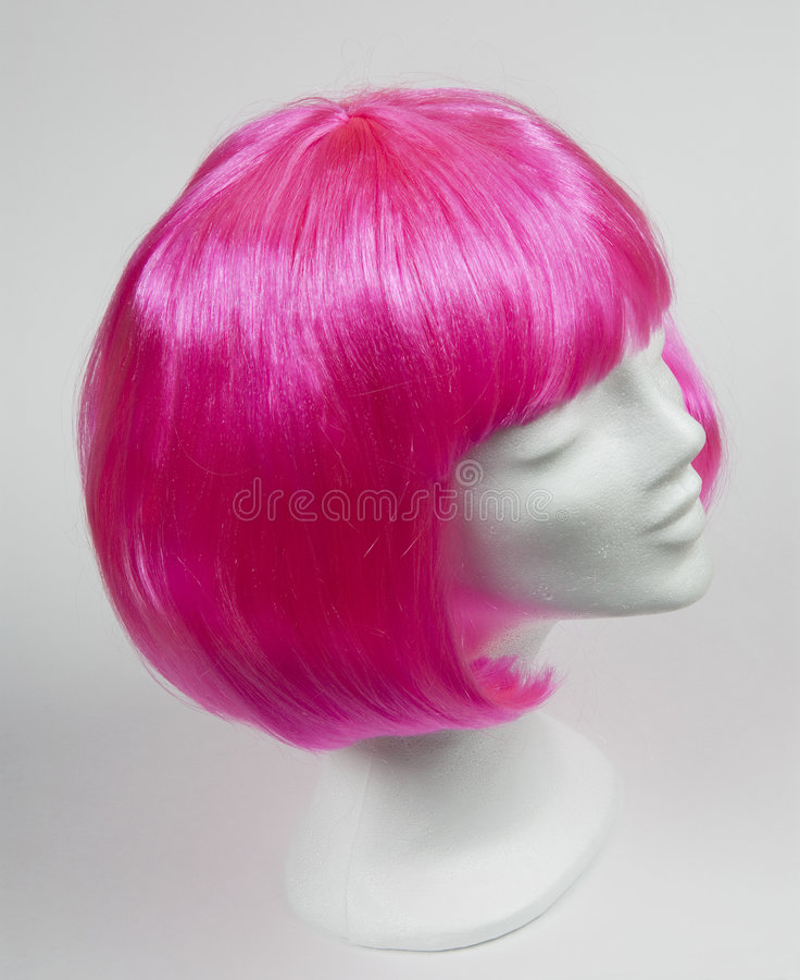 Pink wig royalty free stock image