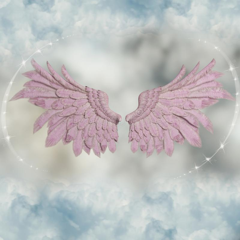 Pink wings in the sky royalty free stock images